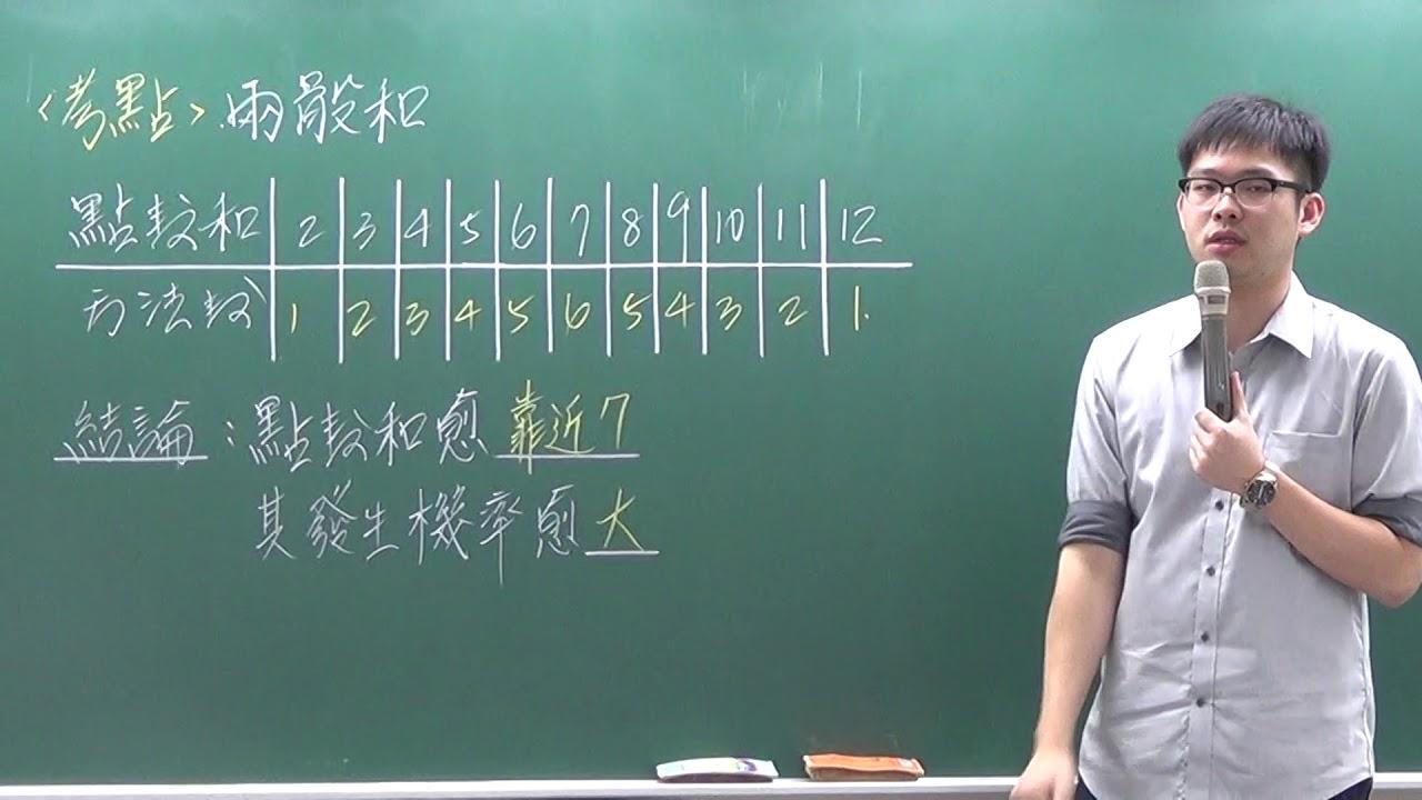 [高職數學][105統測][C卷17][兩骰點數和][威全老師主講] - YouTube