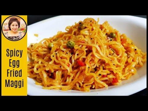 ডিম� দিয়ে ভাজা ম�যাগি / Spicy Fried Egg Maggi / Egg Noodles Recipe
