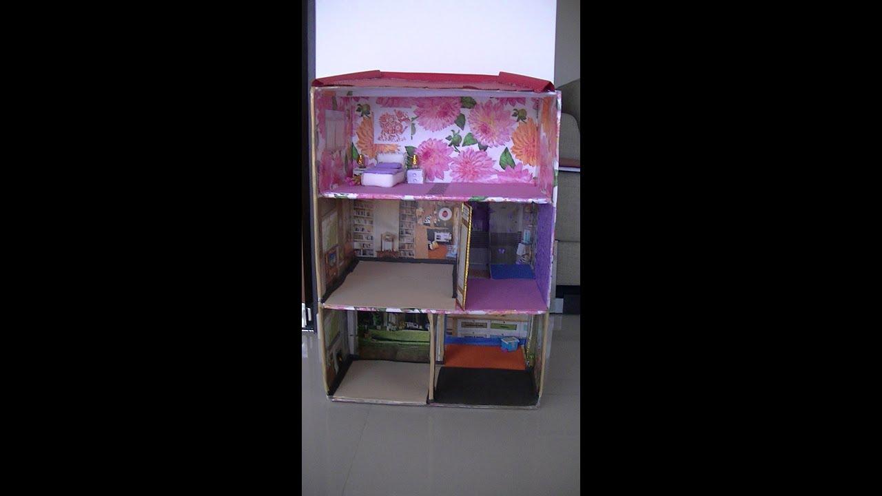 Casa de mu ecas en caja de cart n youtube - Decoracion de casas de munecas ...