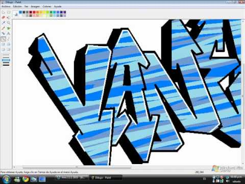 como hacer un graffiti vanesa en paint - YouTube