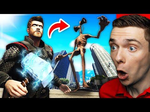 Playing As THOR vs GIANT SIREN HEAD In GTA 5 (Mods)  