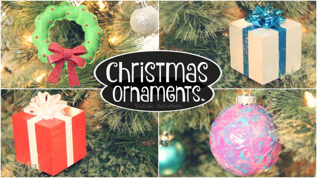 diy ornaments for christmas holidays swirl bulb felt wreath gift box how to socraftastic youtube