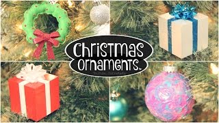 DIY ORNAMENTS // Christmas & Holiday // Wooden Gift Box, Felt Wreath & Window Cling Swirl Bulb