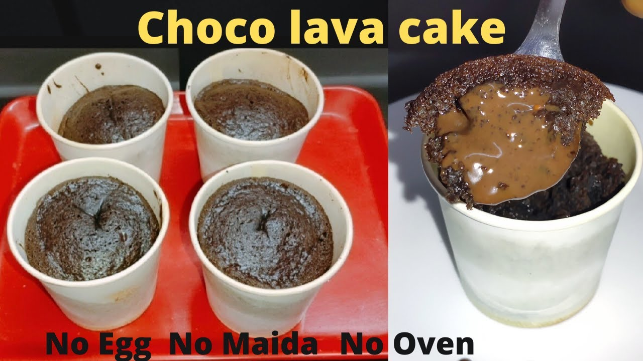 Choco Lava Cup Cake Only 3 Ingredients Without Egg, Oven ...