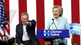 Hillary Clinton, Tim Kaine make first appearance as running mates