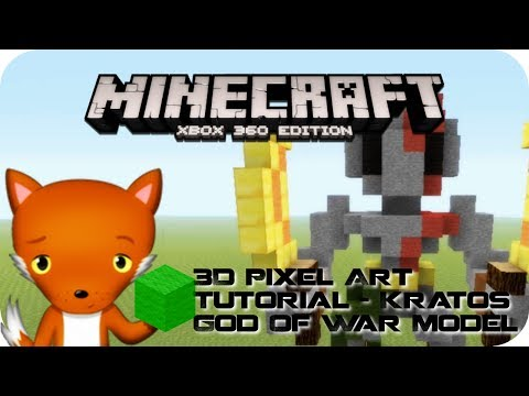 MineCraft 3D Pixel Art Tutorial - Kratos God Of War Model