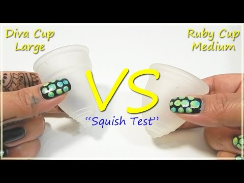"""Diva Cup Lg vs Ruby Cup Med """"Squish Test"""" - Menstrual Cup ... A Cup Vs C Cup"""