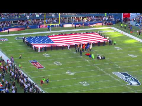 Ariana Grande sings National Anthem at Centurylink Field for NFL Kickoff 2014