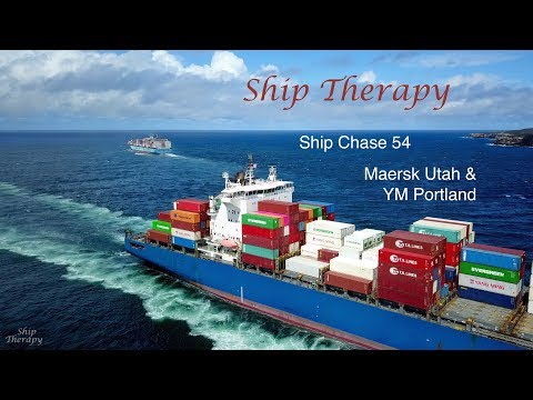 Ship Chase 54 - Maersk Utah & YM Portland - opposing movements at Port Botany - Mavic Pro 4K