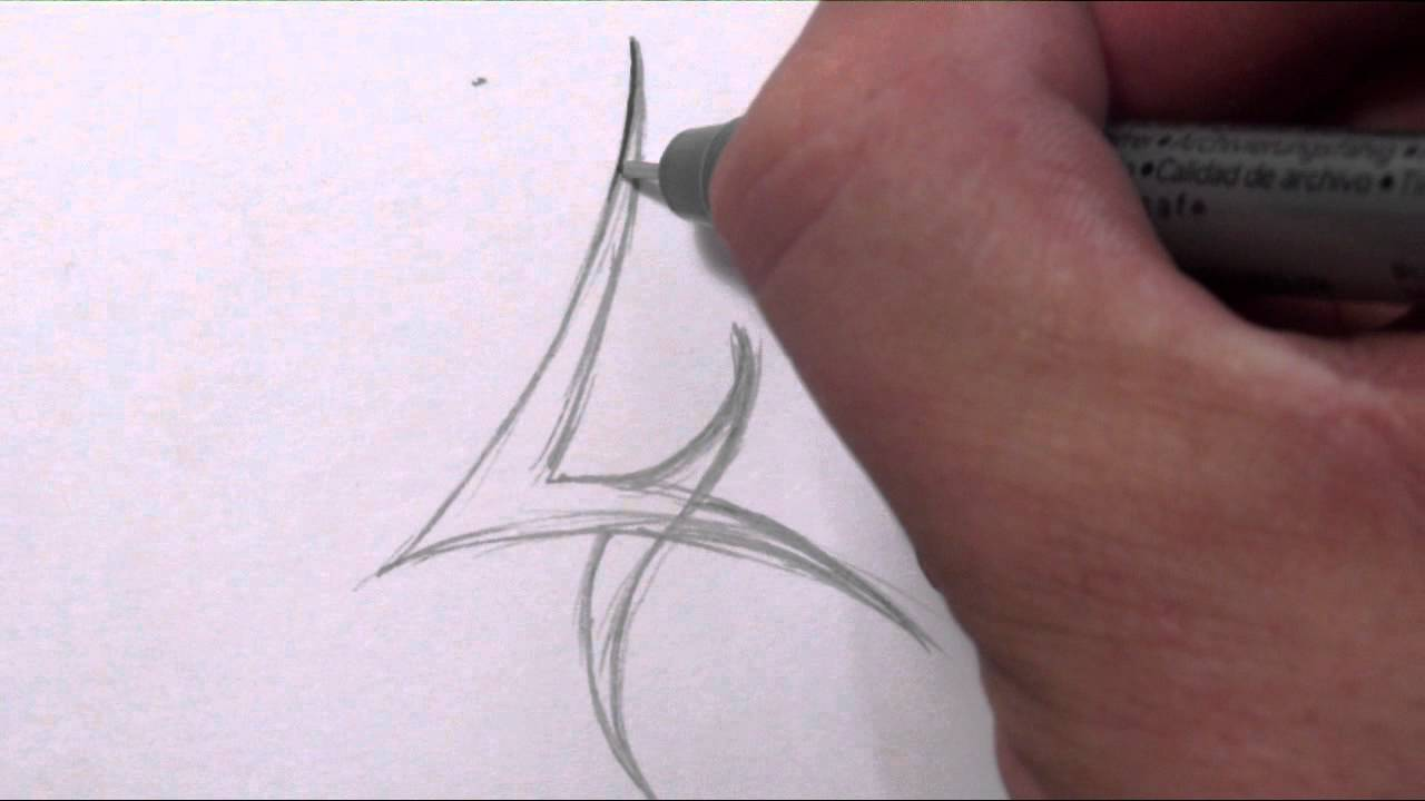 8c4dab513 How To Draw a Simple Tribal Number 4 - YouTube