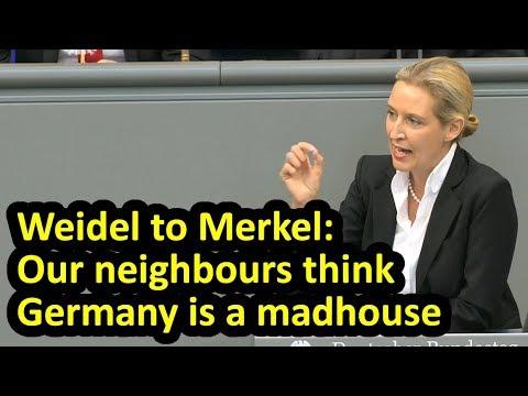 AfD's Alice Weidel addresses Merkel in...