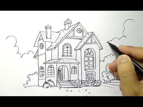 Cara Menggambar Rumah Bertingkat Dengan Mudah Untuk Anak Sd Youtube