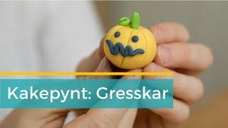 Kakepynt til halloween: Småskummelt gresskar