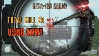 RANKED USING AWM TOTAL KILL 29!! - FREE FIRE BATTLEGROUND