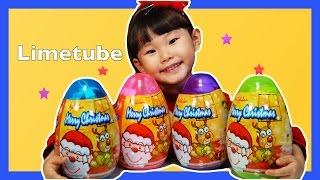 라임의 산타 서프라이즈 에그 알까기 뽀로로 타요 크리스마스 장난감 놀이 LimeTube & Toy 라임튜브