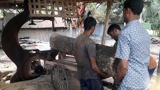 Big and Heavy Weighted Wood Cutting In Saw Mill Bangladesh/Wood Cutting Technique In the World