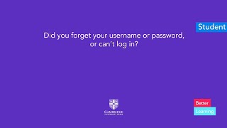 Did you forget your username or password, or can't log in?