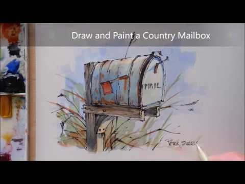 How to Draw and Paint a Country Mailbox. Line and Wash Watercolor. Peter Sheeler