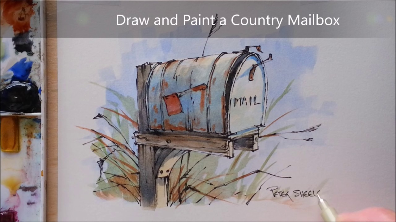 How To Draw And Paint A Country Mailbox Line And Wash