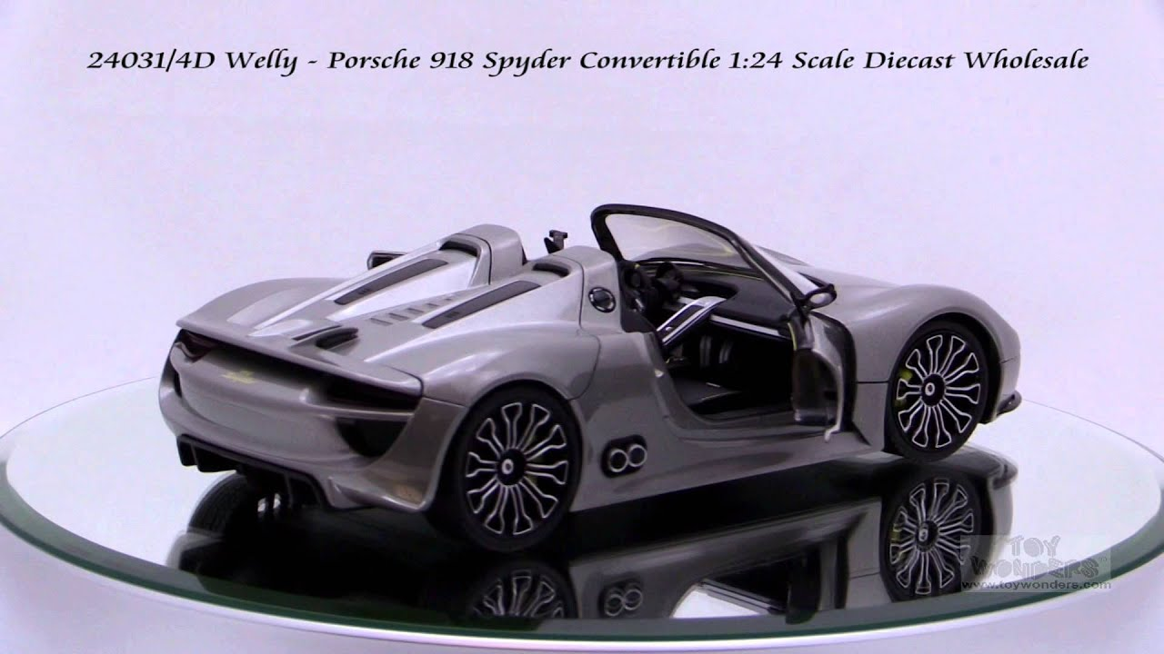 24031 4d welly porsche 918 spyder convertible 1 24 scale diecast wholesale youtube. Black Bedroom Furniture Sets. Home Design Ideas