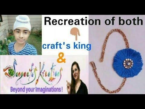 Easy Rakhi making  How to make Rakhi with thread  Recreation of craft's king & Sangeetas kreations