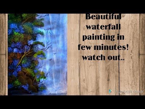 Waterfall painting easy II  Acrylic Painting Tutorial