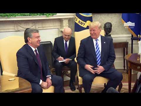 President Trump Hosts a Photo Opportunity with President Mirziyoyev of the Republic of Uzbekistan