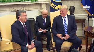 President Trump Hosts a Photo Opportunity with President Mirziyoyev of the Republic of Uzbekistan