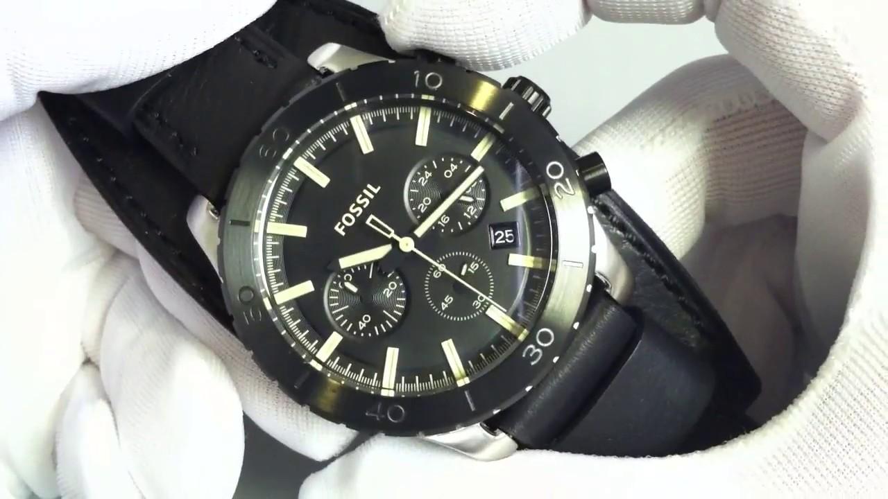 Men s Black Fossil Keaton Chronograph Cuff Band Watch JR1394 - YouTube 8fb391e866