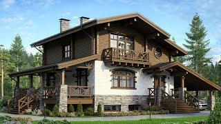Проект дома в стиле Шале. Дом с мансардой, цокольным этажом, сауной и террасой. Ремстройсервис М-170