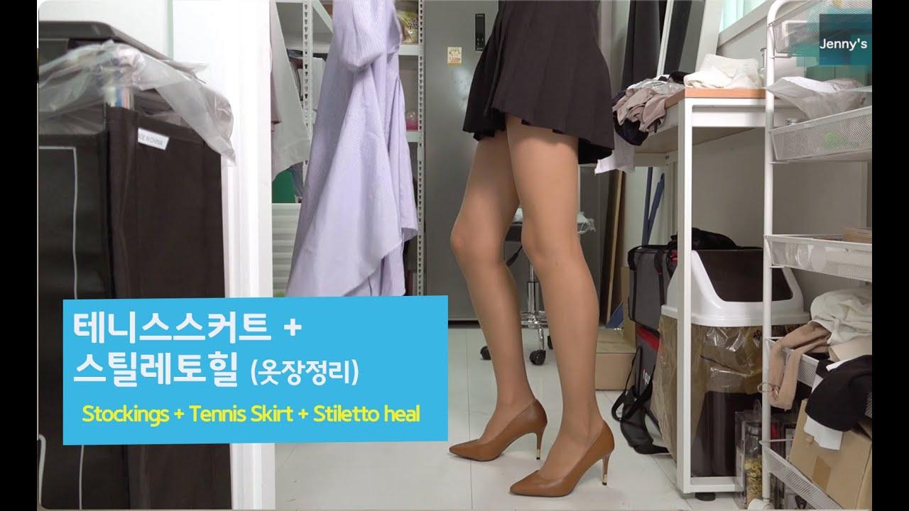 테니스스커트 + 스타킹 + 스틸레토힐 (부제:스타킹은 반짝반짝) Tennis Skirt+Stockings+Stileto heal