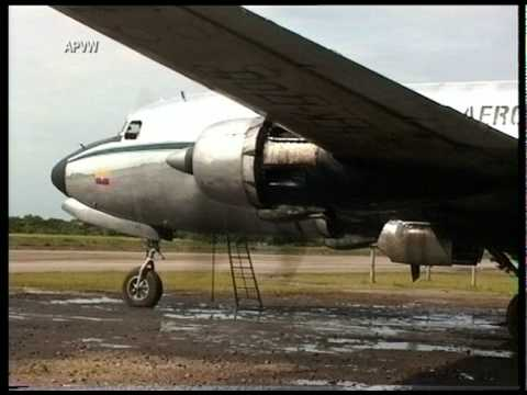 DC-6 HK-1700 start up at Villavicencio, Colombia