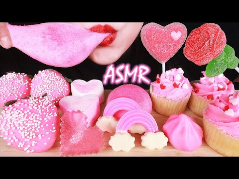 ASMR PINK DESSERT: MOCHI, GUMMY CANDY, CHOCOLATE, MARSHMALLOW, JELLY, STRAWBERRIES, CUPCAKES EATING