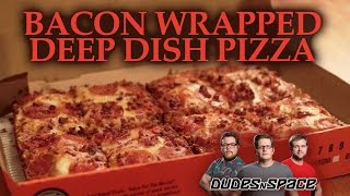 Little Caesars Bacon Wrapped Crust Deep Deep Dish Pizza Taste Test Review - Dudes N Space