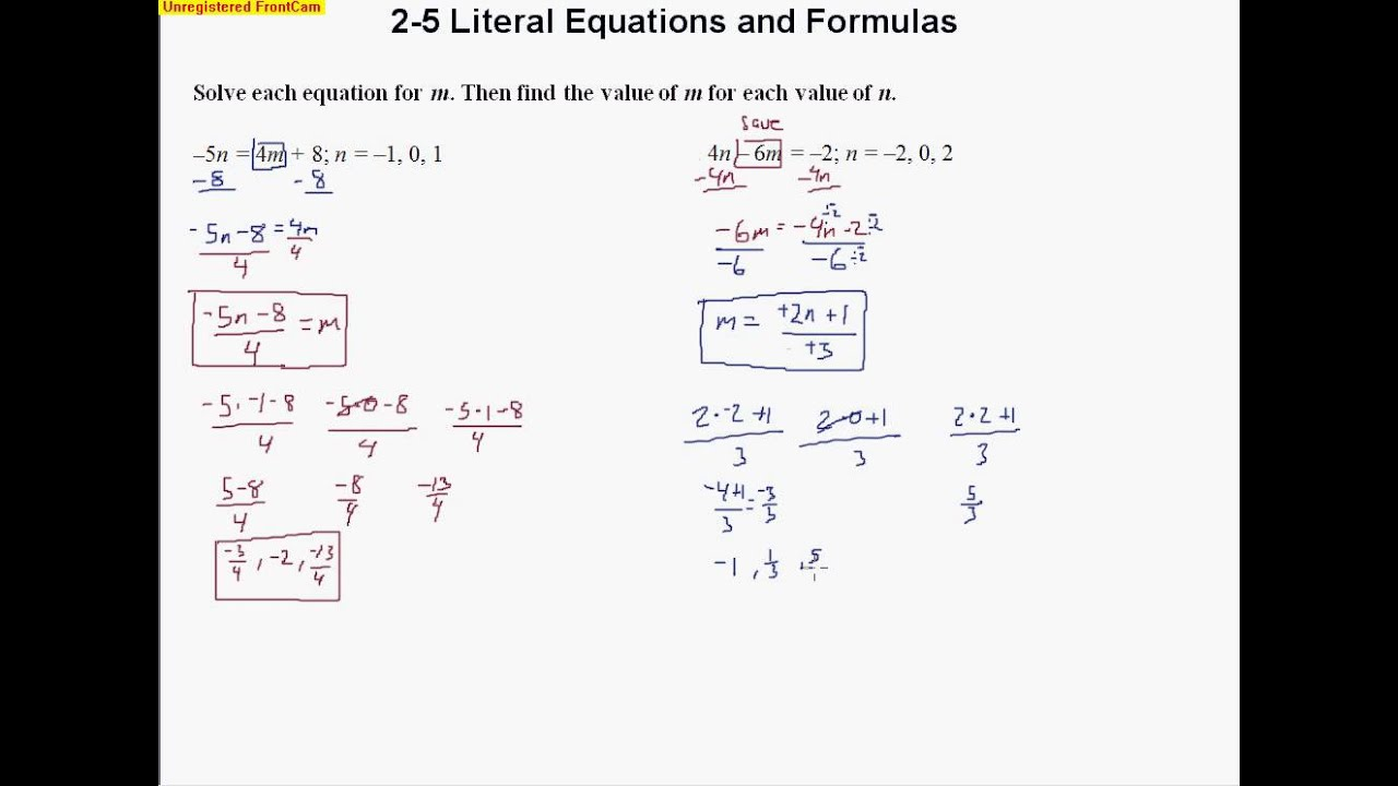2 5 Literal Equations and Formulas YouTube – Literal Equation Worksheet