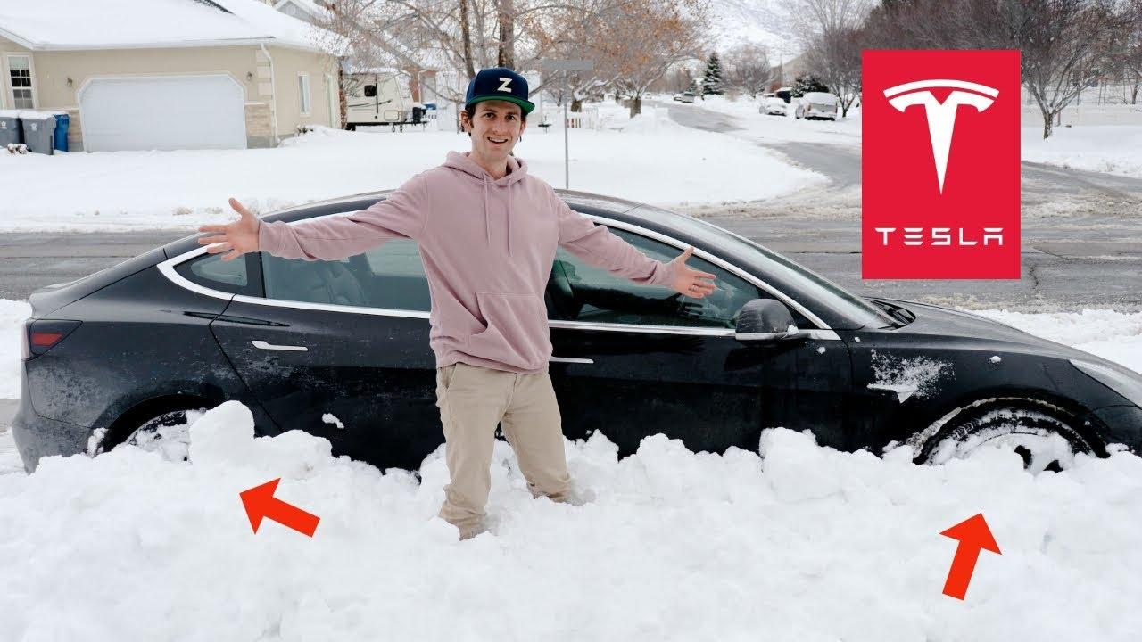 Driving Tesla Model 3 In DEEP Snow! - YouTube