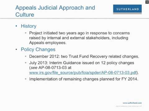 Webcast: Current Update on IRS Appeals Division and Other Acronyms, Including AJAC, RAP, ADR and NII
