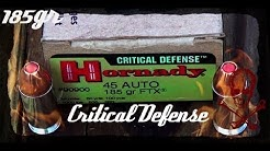 Hornady 185gr 45ACP Critical Defense (#90900) Ballistic Gel Test (HD)