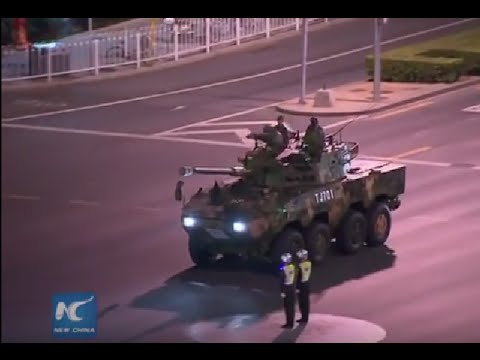 China's V-Day parade military vehicles move to downtown Beijing