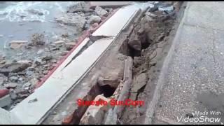 Colapsó una parte del Malecón de Coatzacoalcos