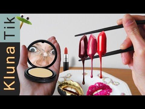 EATING lipstick, make-up & glitters!   KLUNATIK COMPILATION ASMR eating sounds COMER MAQUILLAJE