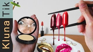 EATING lipstick, make-up & glitters! | KLUNATIK COMPILATION ASMR eating sounds COMER MAQUILLAJE