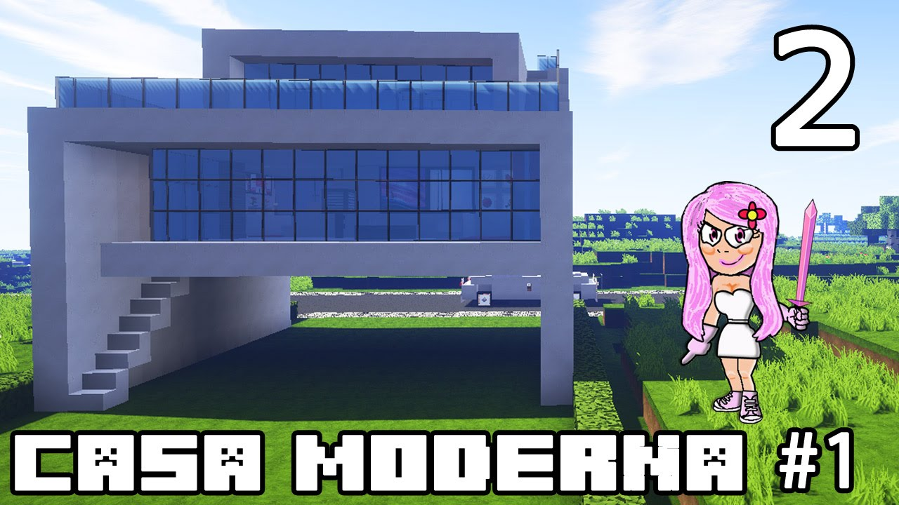 Minecraft casa moderna 1 parte 2 c mo construir youtube for Casa moderna y grande en minecraft