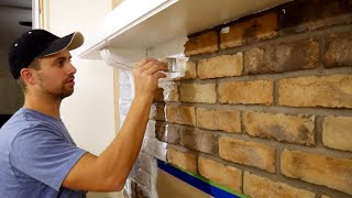 How to Whitewash Brick Fireplace   $15 DIY = HUGE Difference!