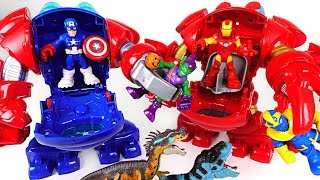 Dinosaurs appeared! Marvel Super hero adventure Captain America, Iron Man Armor! - DuDuPopTOY