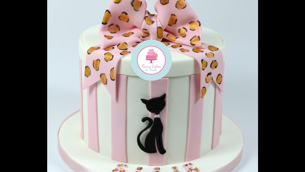 How To Decorate Hat Box Design Cake With Cat Motif And Hand Painted