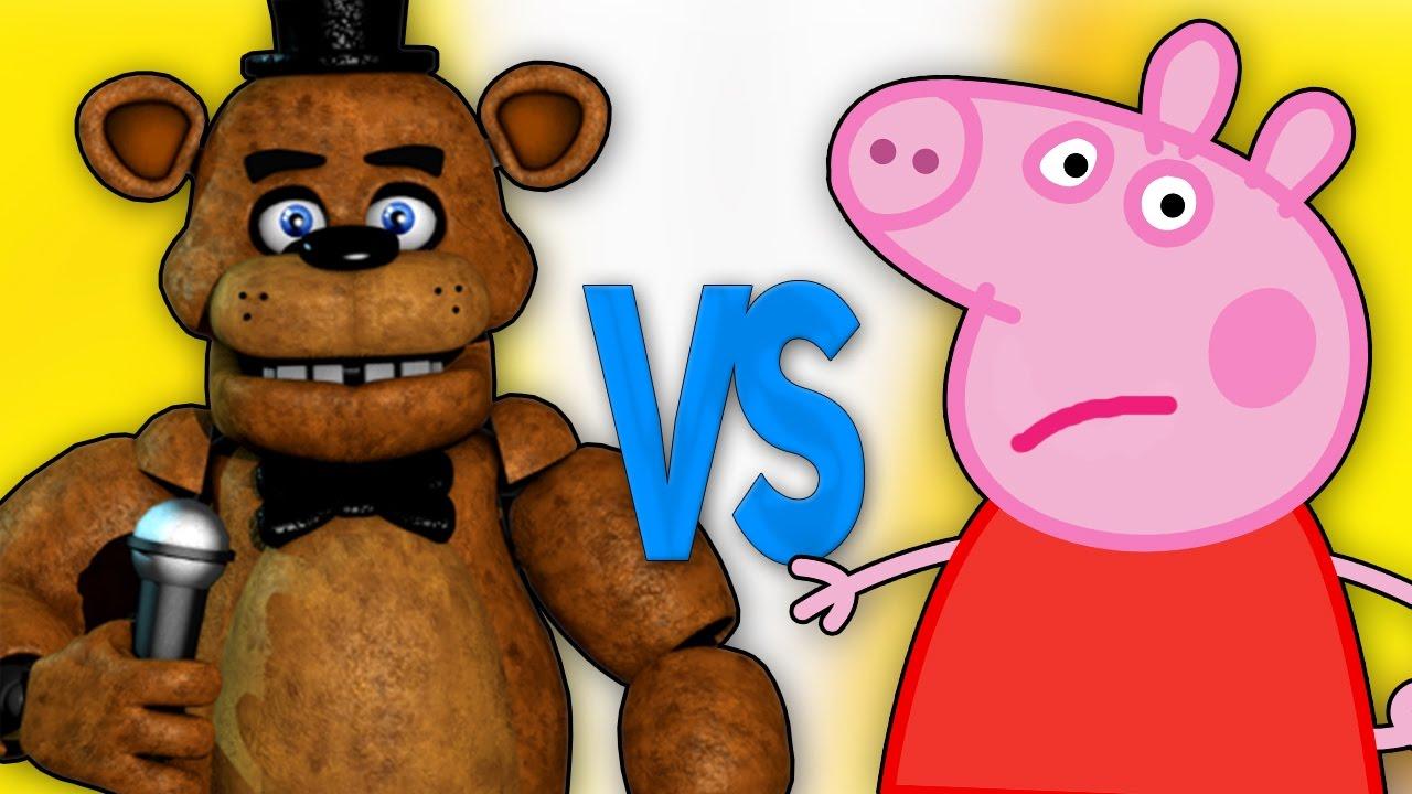 СВИНКА ПЕППА VS ФРЕДДИ АНИМАТРОНИК | СУПЕР РЭП БИТВА | Peppa Pig cartoon ПРОТИВ Freddy FNAF 5 bear