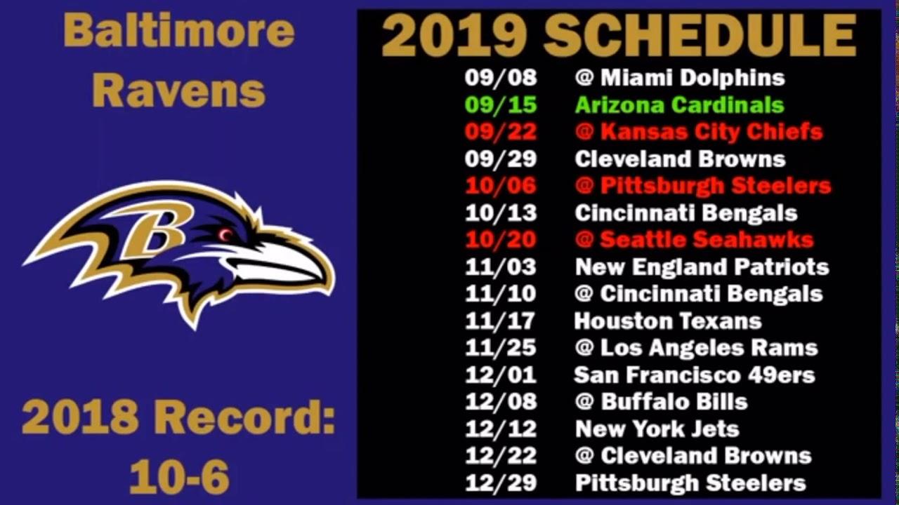 Browns Schedule 2020.Baltimore Ravens 2019 2020 Schedule Youtube
