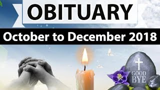 Obituaries - National and International - October to December 2018 - Current affairs 2018 in Hindi