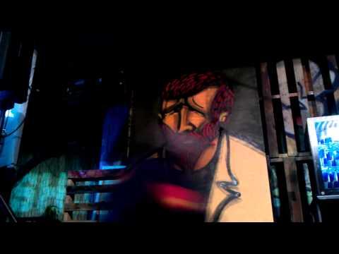 Live Graffiti Art - Sam Evans painting 'People' @ Red Bull Wreckers Yard, Adelaide 2011
